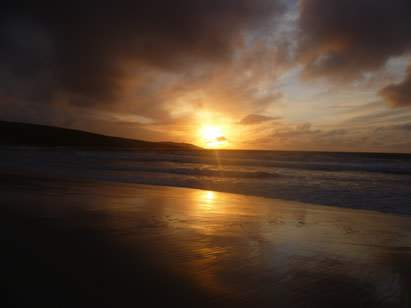 Orkney beach at sunset
