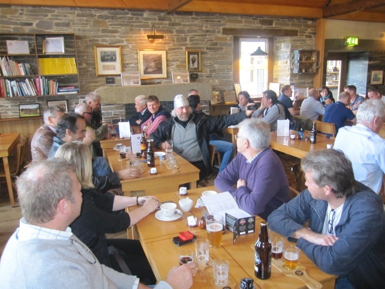 See Orkney tour with a group of Scandinavians at The Orkney Brewery.